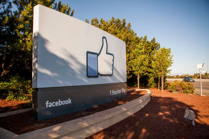 The  Like  Facebook sign located at the entrance to the Facebook campus, Menlo Park, California.