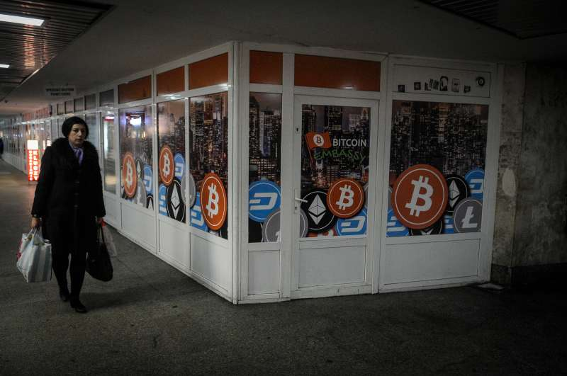 A bitcoin embassy is seen in an underpass in Bydgoszcz, Poland on December 14, 2017.