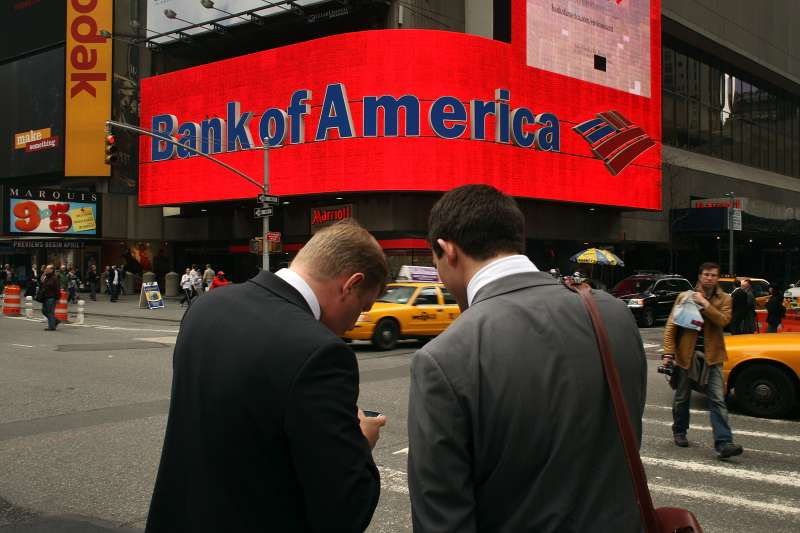 A Bank of America billboard dominates a street corner in Times Square on April 21, 2009 in New York City.