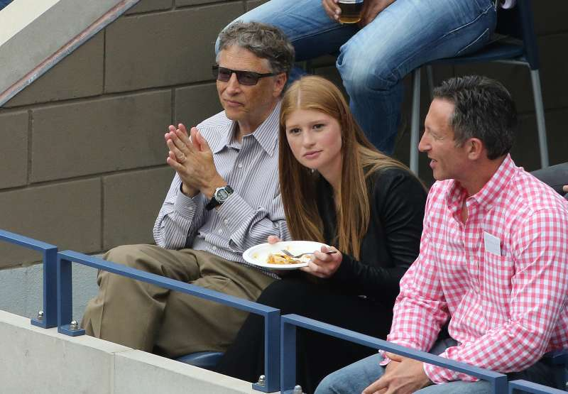 Bill Gates  and his daughter Jennifer Gates attend the men's final on Day 15 of the 2014 US Open at USTA Billie Jean King National Tennis Center.