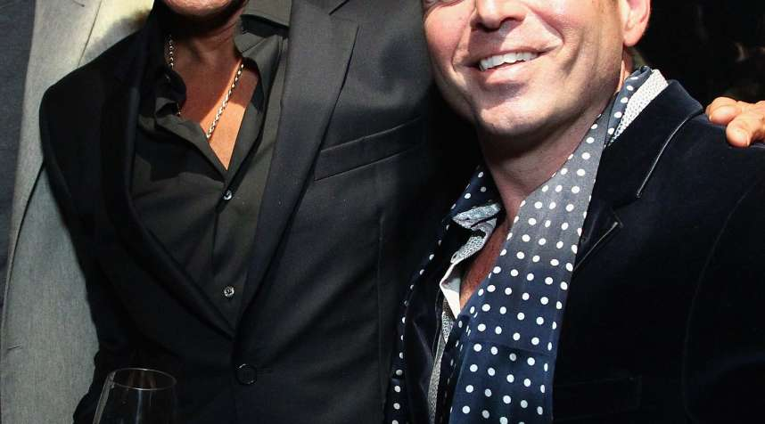Lionel Richie and Misahara Jewelry Mike Poutre attend Jason Binn's DuJour Magazine and Lionel Richie Home Collection launch with IMPULSE! International at PHD Terrace at Dream Midtown on October 27, 2015 in New York City.