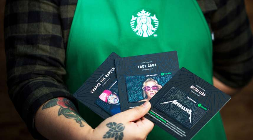 Spotify cards photographed on Thursday, November 16, 2017.  (Joshua Trujillo, Starbucks)