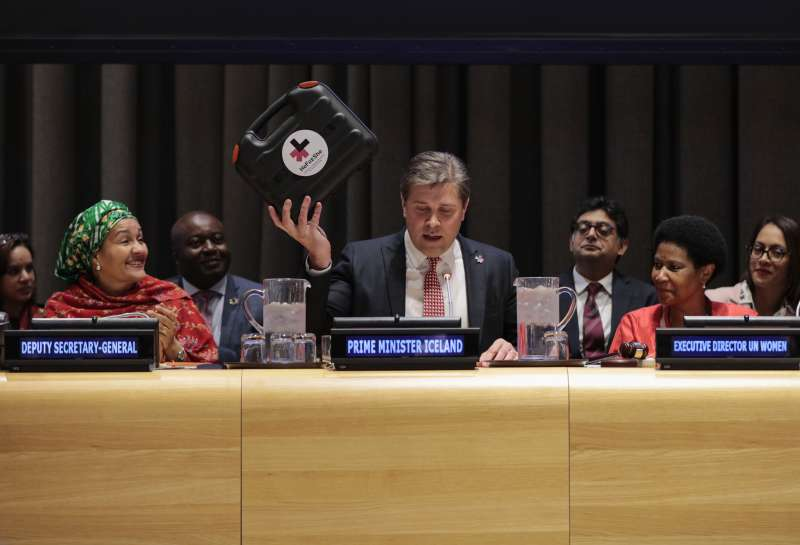 """Bjarni Benediktsson Prime Minister of Iceland and HeForShe IMPACT Champion during the March 8, 2017 Observance of the International Women's Day at UN headquarters in New York, under the theme """"Women in the Changing World of Work: Planet 50-50 by 2030""""."""