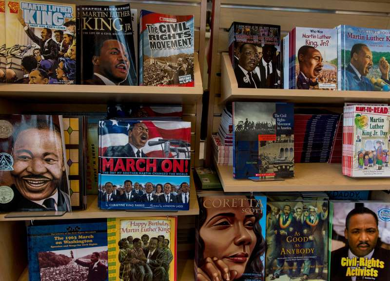 Books line the shelves of the bookstore and gift shop of the Martin Luther King Jr. Memorial on the eve of the National Action Network's rally and march to commemorate the 50th Anniversary of the 1963 March on Washington and the ''I Have a Dream'' speech by the Reverend Martin Luther King, Jr.,  Washington, D.C., August 23, 2013.