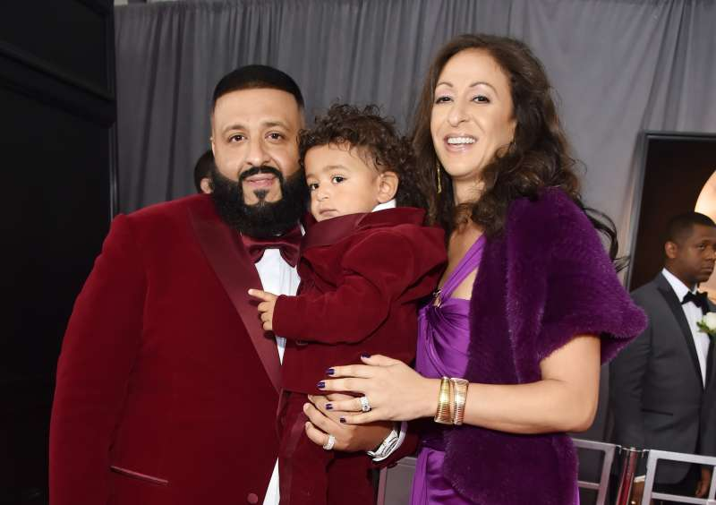 Recording artist DJ Khaled, son Asahd Tuck Khaled and wife Nicole Tuck attend the 60th Annual GRAMMY Awards at Madison Square Garden on January 28, 2018 in New York City.
