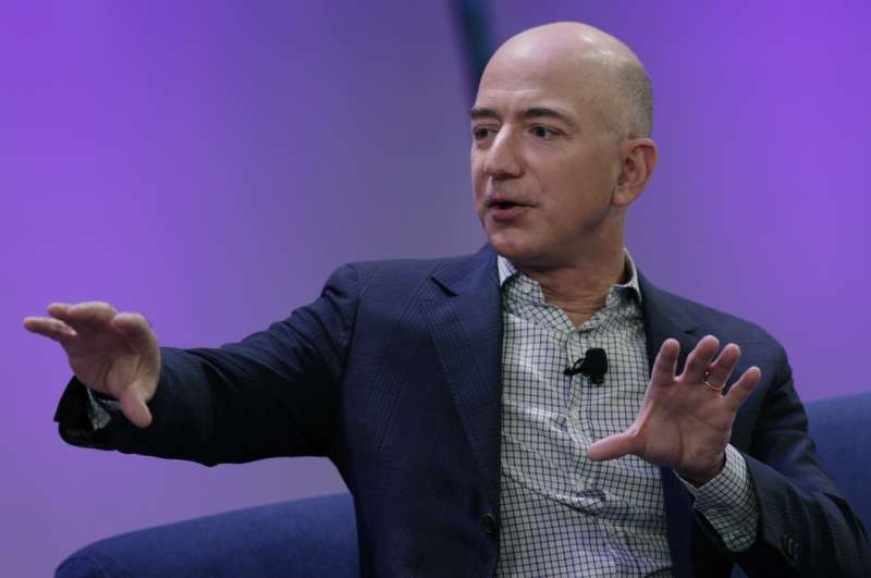 Jeff Bezos, chief executive officer of Amazon.com Inc. and founder of Blue Origin LLC