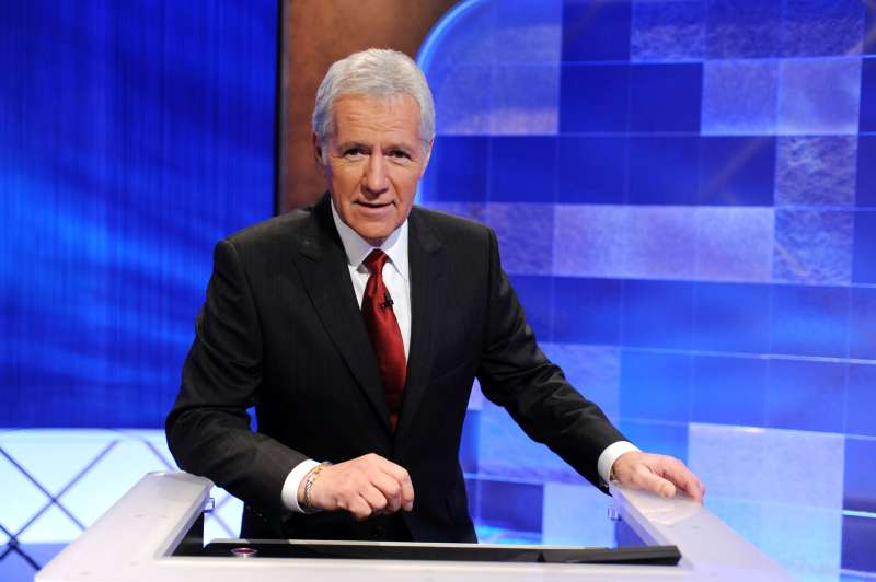 Game show host Alex Trebek poses on the set of the  Jeopardy!  Million Dollar Celebrity Invitational Tournament Show Taping on April 17, 2010 in Culver City, California.