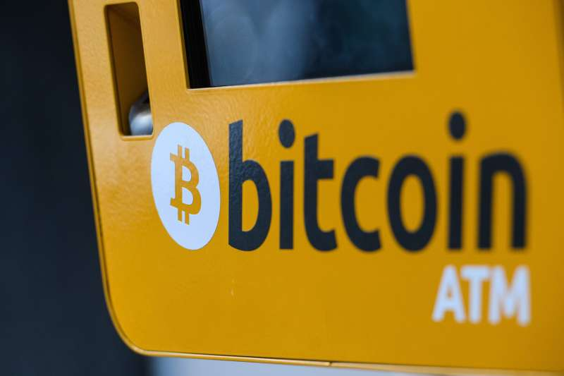 An ATM machine for digital currency Bitcoin is seen in Hong Kong.