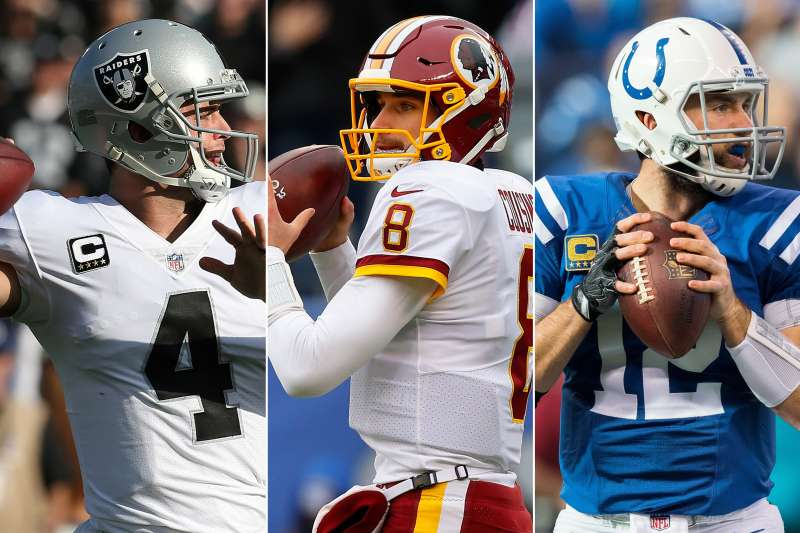 From L to R: Derek Carr of the Oakland Raiders, Kirk Cousins of the Washington Redskins and Andrew Luck of the Indianapolis Colts.