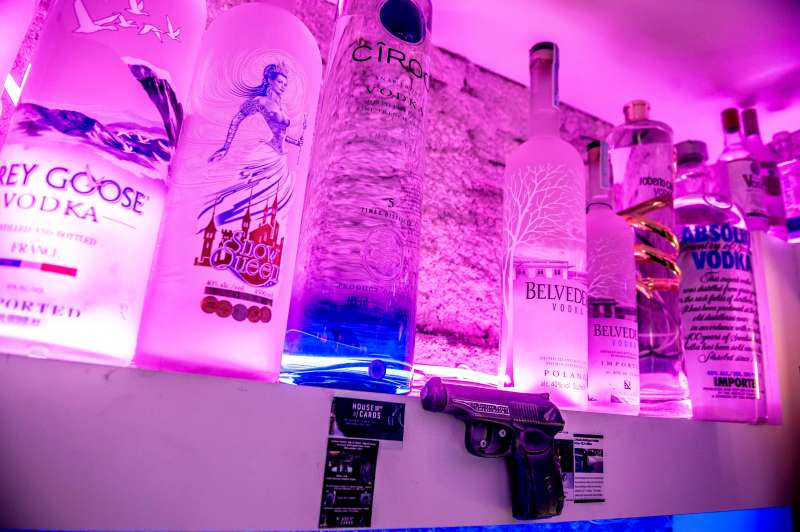 A picture taken on January 3, 2018 at the Cafe 33 in Copenhagen, Denmark, shows the empty place left on a shelve after the reported world's most expensive vodka bottle, valued at 1,1 million Euro, was reported stolen