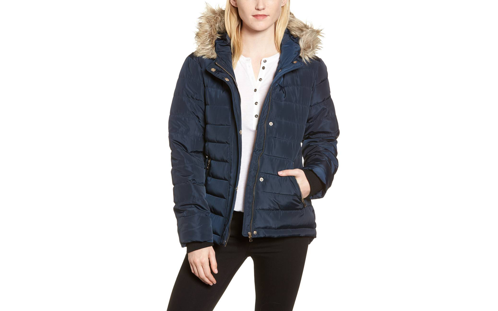Nordstrom Dorothy Perkins Faux Fur Trim Hooded Puffer Jacket
