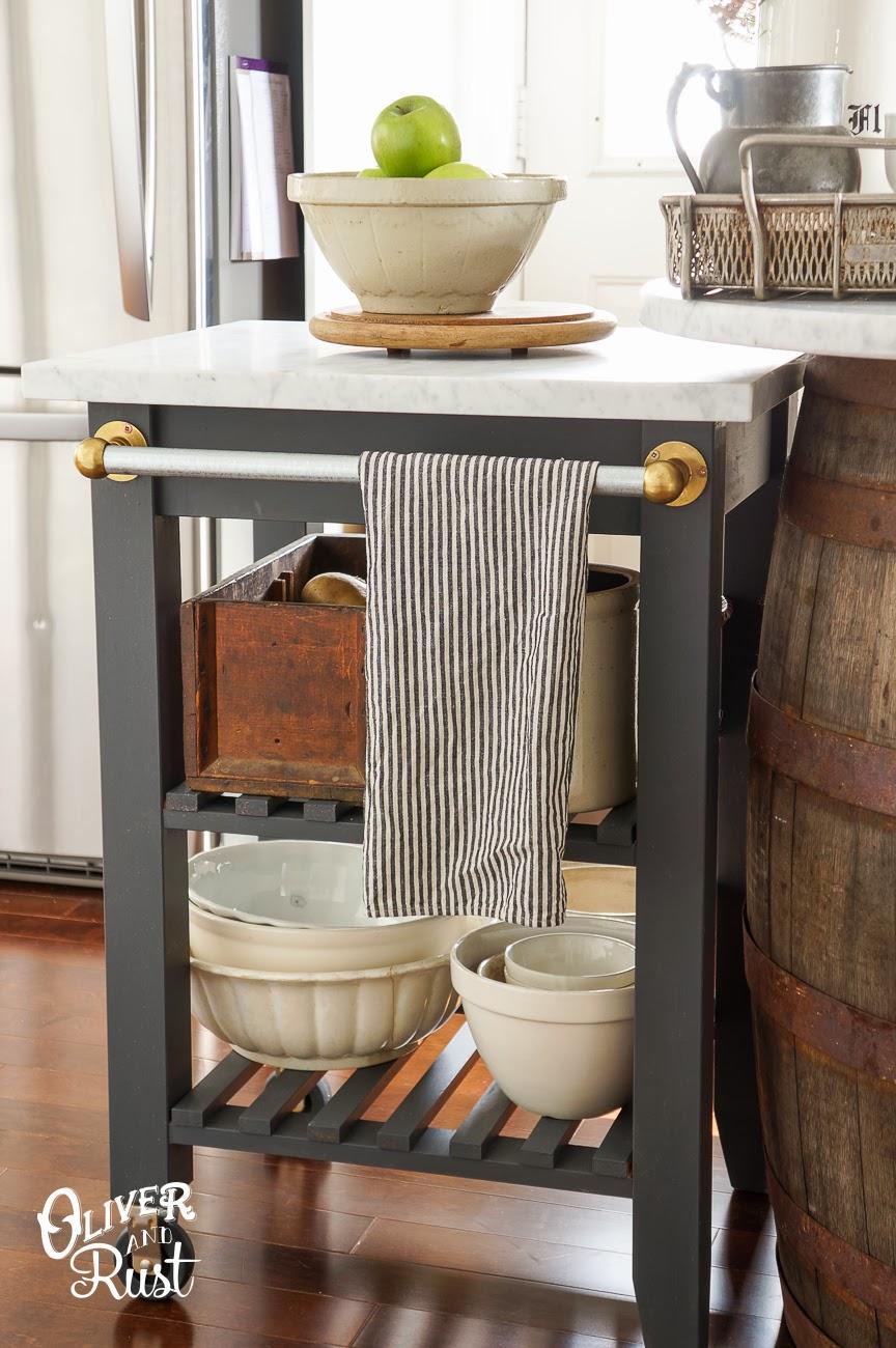 Kitchen storage cart IKEA hack with dish towel