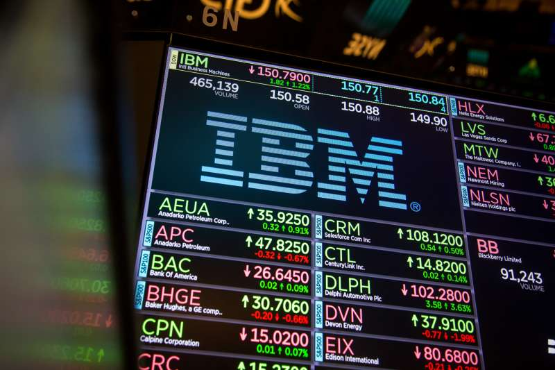 A monitor displays International Business Machines Corp. (IBM) signage on the floor of the New York Stock Exchange (NYSE) in New York, U.S., on Monday, Nov. 20, 2017.