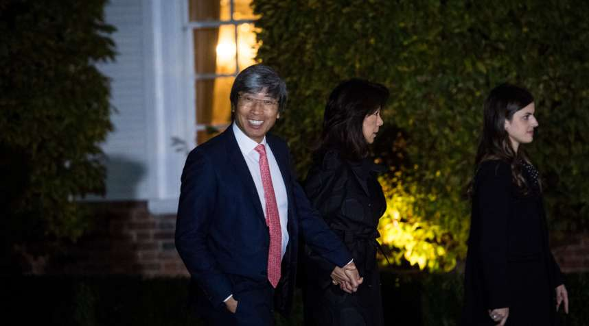 Dr. Patrick Soon-Shiong arrives at the Trump National Golf Club Bedminster clubhouse at Trump National Golf Club Bedminster in Bedminster Township, N.J. on Saturday, Nov. 19, 2016.