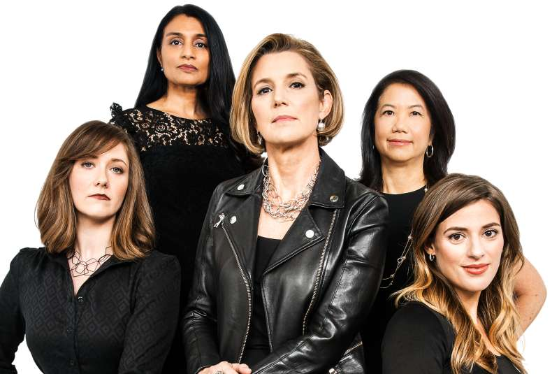 Team Ellevest (clockwise from center): CEO Sallie Krawcheck; Sylvia Kwan, chief investment officer; Alexandria Stried, chief product officer; Melissa Cullens, chief design officer; and Neshie Tiwari, chief compliance officer.