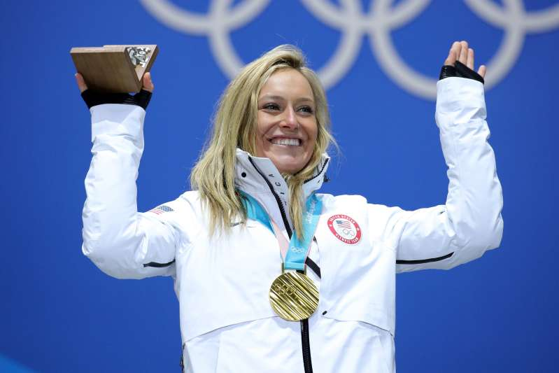 Gold medalist Jamie Anderson of the United States poses during the medal ceremony for Snowboard Ladies' Slopestyle at Medal Plaza on February 12, 2018 in Pyeongchang-gun, South Korea.