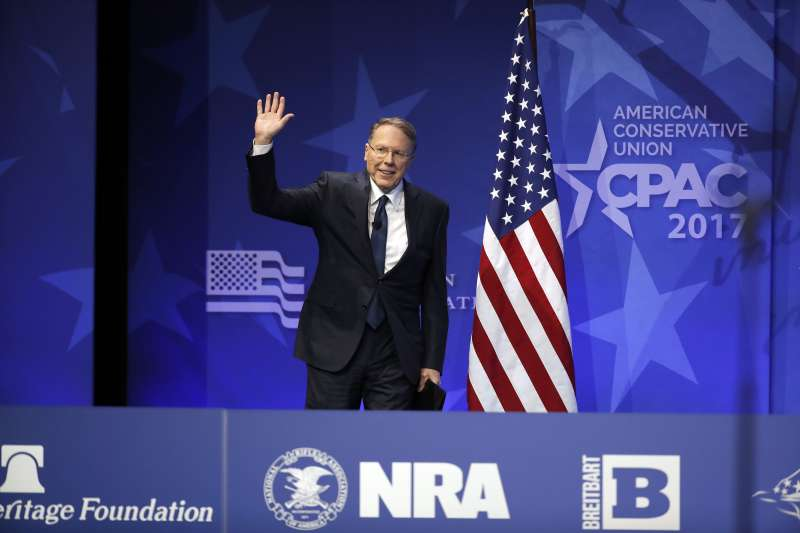 National Rifle Association (NRA) Executive Vice President and Chief Executive Officer Wayne LaPierre arrives to speak at the Conservative Political Action Conference (CPAC), in Oxon Hill, Marilyand, February 24, 2017.