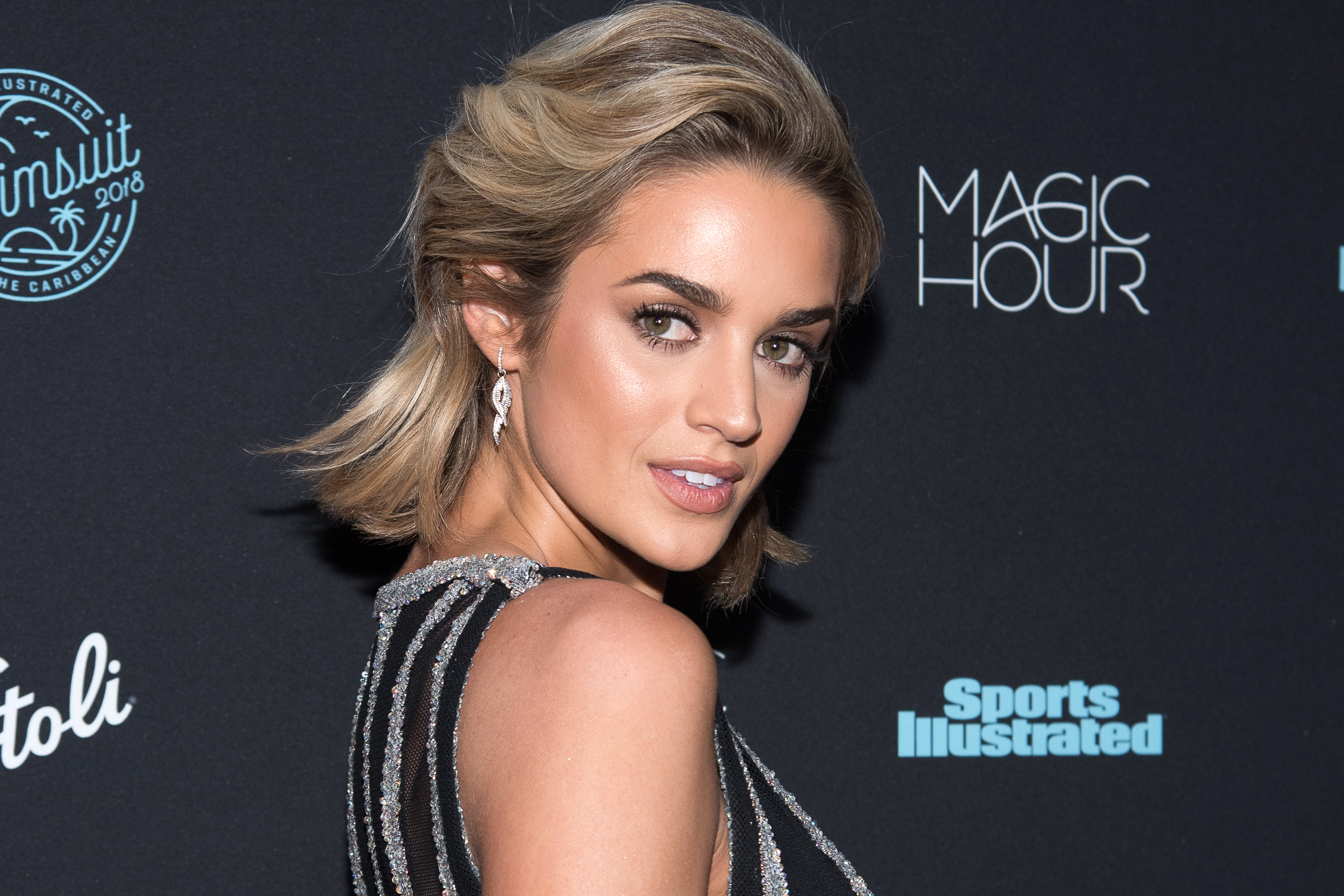 Model Allie Ayers attends the 2018 Sports Illustrated Swimsuit Issue Launch Celebration at Magic Hour at Moxy Times Square on February 14, 2018 in New York City.