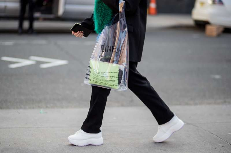 A guest wearing Celine bag seen outside on February 12, 2018 in New York City.