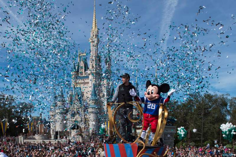 In this handout photo provided by Disney Resorts, Nick Foles of the Super Bowl LII winning team, the Philadelphia Eagles, celebrates in a Main Street parade at Walt Disney World on February 5, 2018 in Lake Buena Vista, Florida.