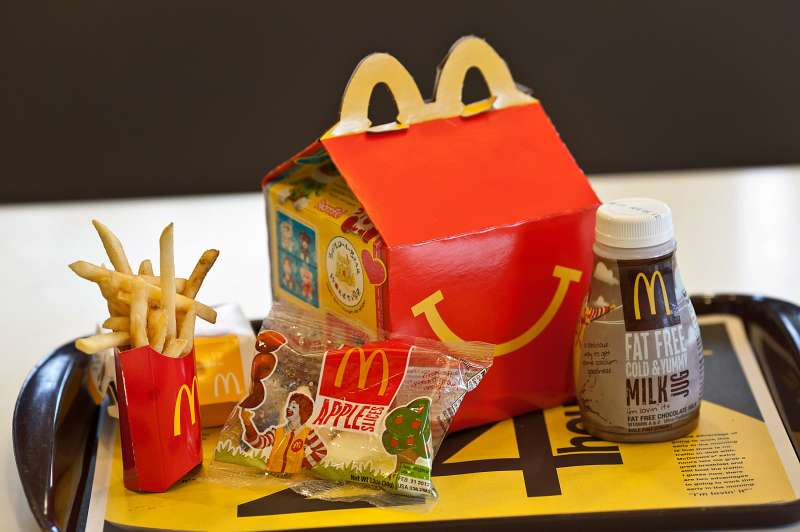 A Happy Meal is on a tray at a McDonald's in New Jersey