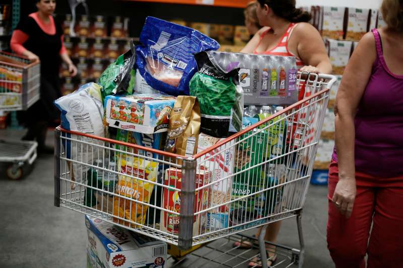 Shoppers fill their carts at a Costco Wholesale Corp. warehouse in Brooklyn, New York.