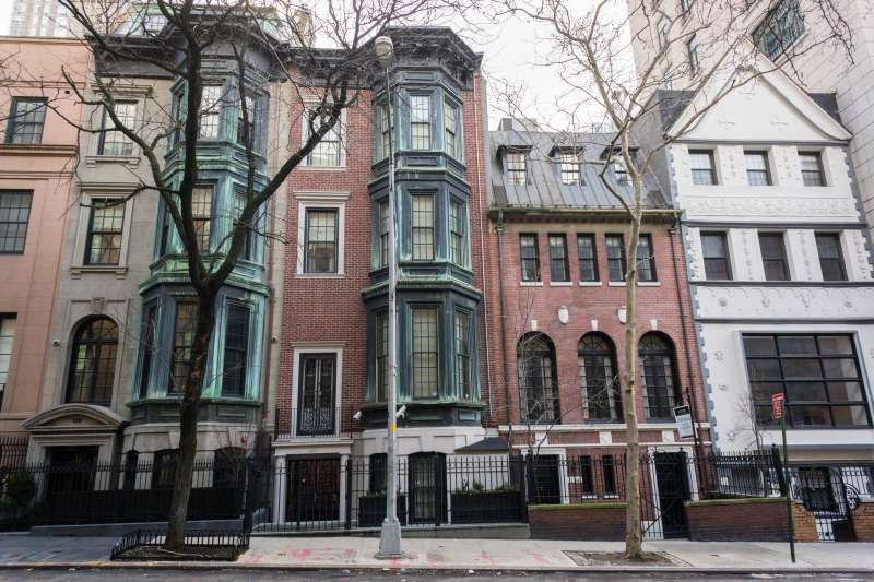 A row of townhouses in the Upper East Side neighborhood of New York