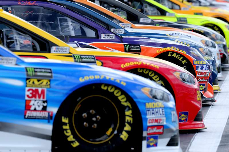 Cars sit on the grid during qualifying for the Monster Energy NASCAR Cup Series Daytona 500 at Daytona International Speedway on February 11, 2018.