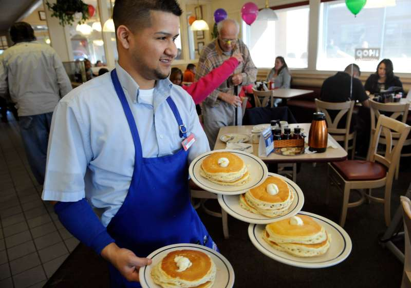 Tuesday is National Pancake Day at IHOP, when all customers get a free short stack of pancakes.