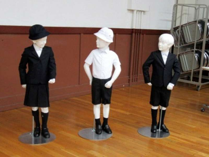 School uniforms designed by Italian brand Armani at Taimei Elementary School in Tokyo