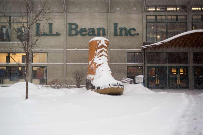 The flagship L.L. Bean store during a winter storm.