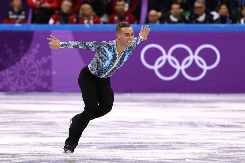 Adam Rippon of the United States competes in the Figure Skating Team Event Men's Single Free Skating on day three of the PyeongChang 2018 Winter Olympic Games at Gangneung Ice Arena on February 12, 2018 in Gangneung, South Korea.