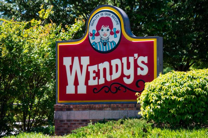 The Wendy's sign is seen outside their restaurant in Bowie, Maryland on May 9, 2017.