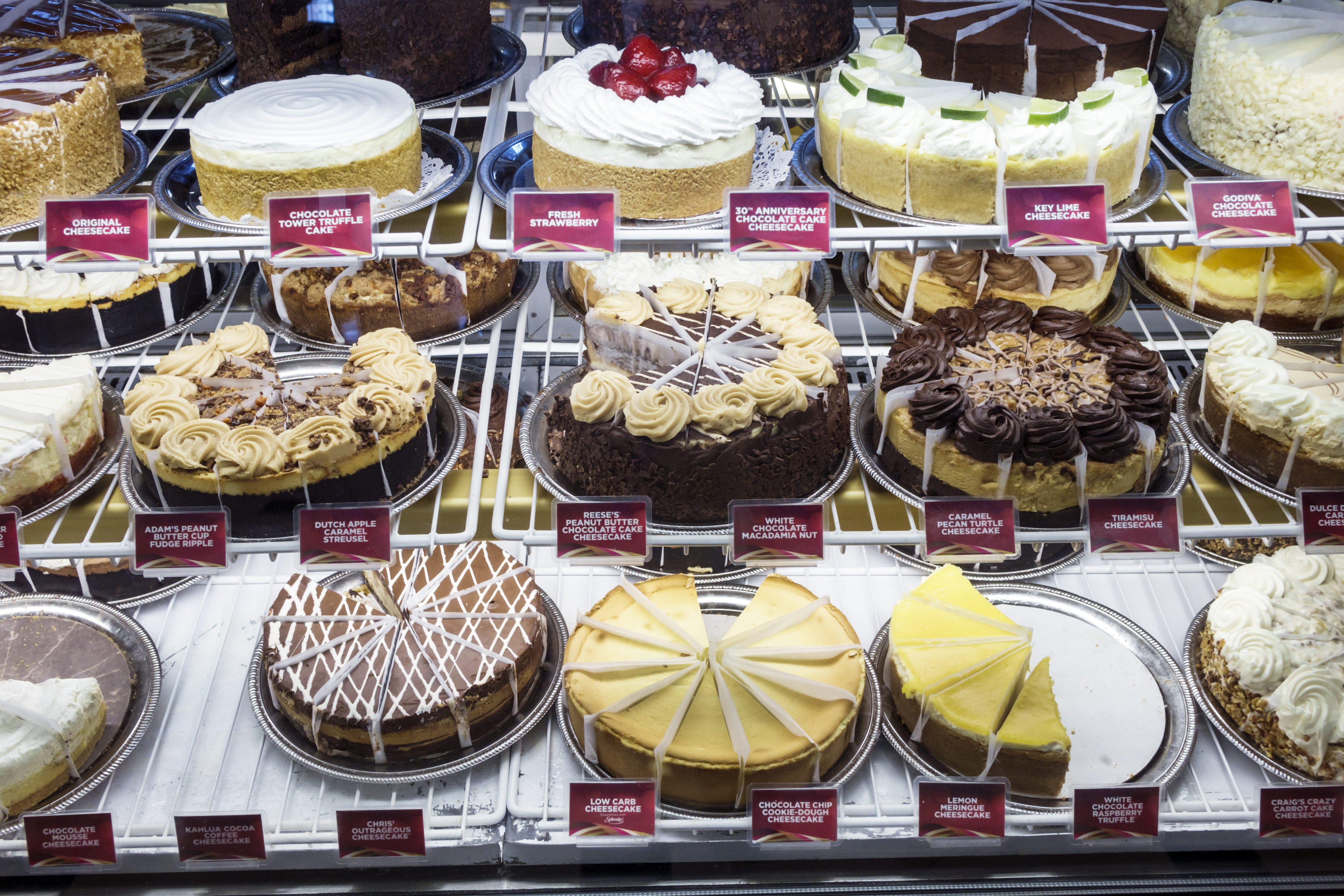 The refrigerated display case at the Cheesecake Factory at Coastland Center Shopping Mall.
