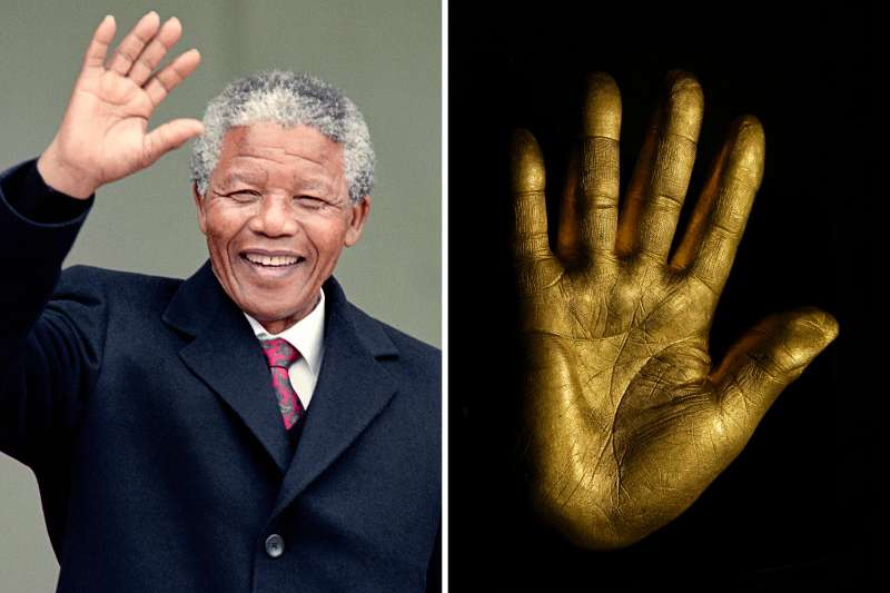(left) South African anti-apartheid leader and African National Congress (ANC) member Nelson Mandela waves to the press as he arrives at the Elysee Palace, June 7 1990, in Paris, to have talks with French president Francois Mitterrand. (right) At the auction of Nelson Mandela's artwork from Robben Island, his former prison, a solid fine gold casting of Mandela's right hand was auctioned. A Johannesburg carpet dealer, Shraga Vidavsky, bought the hand for Rands 425,000 (approximately US$53,000.) The hand, 3 kilograms of pure gold, bears his signature and one of the years of his imprisonment on the back. The hand was cast by South African Harmony Gold Company. Twenty-seven hands will be made for auction, one for each year of imprisonment. The proceeds from the auction of the gold hands and of Mandela's artwork will benefit the  Nelson Mandela Trust  and the charities it supports.