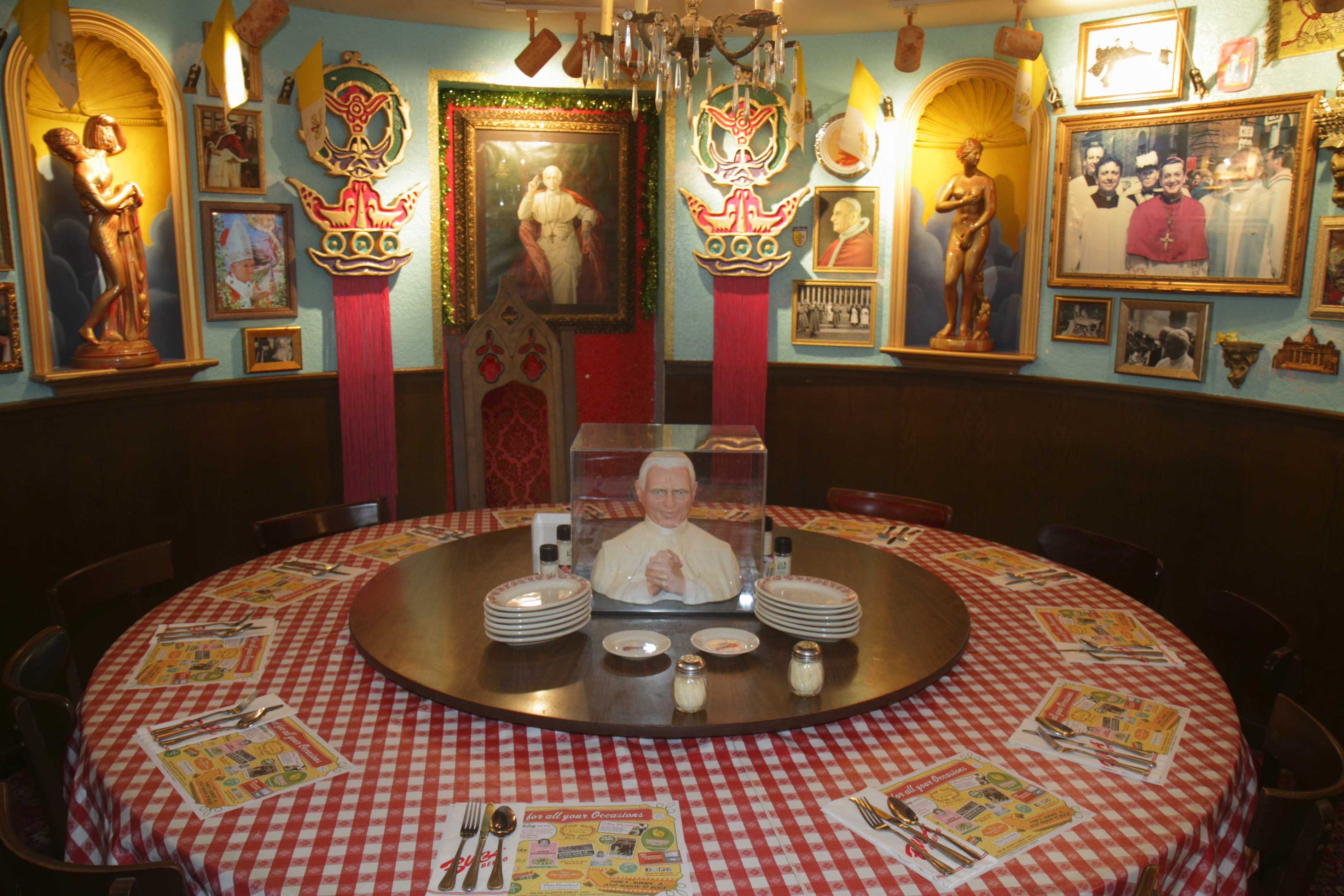 The interior of Buca di Beppo Italian Restaurant.