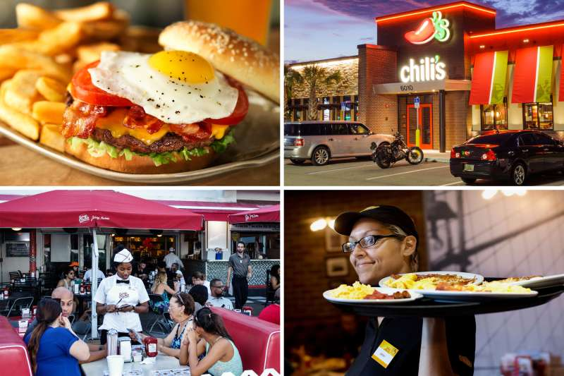 (clockwise from top left) Red Robin, Chili's,  Denny's, Johnny Rockets