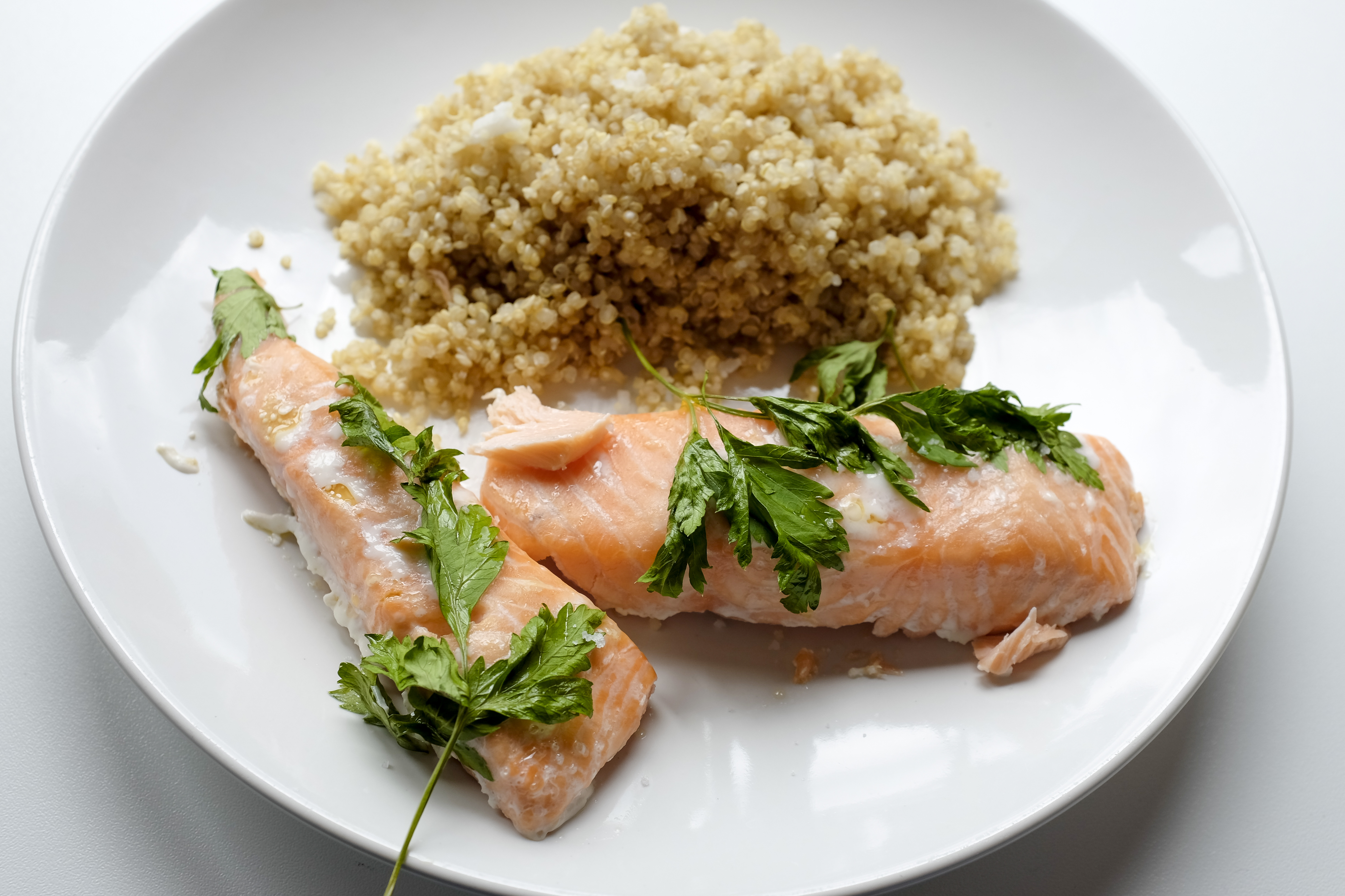 Plate of salmon with quinoa