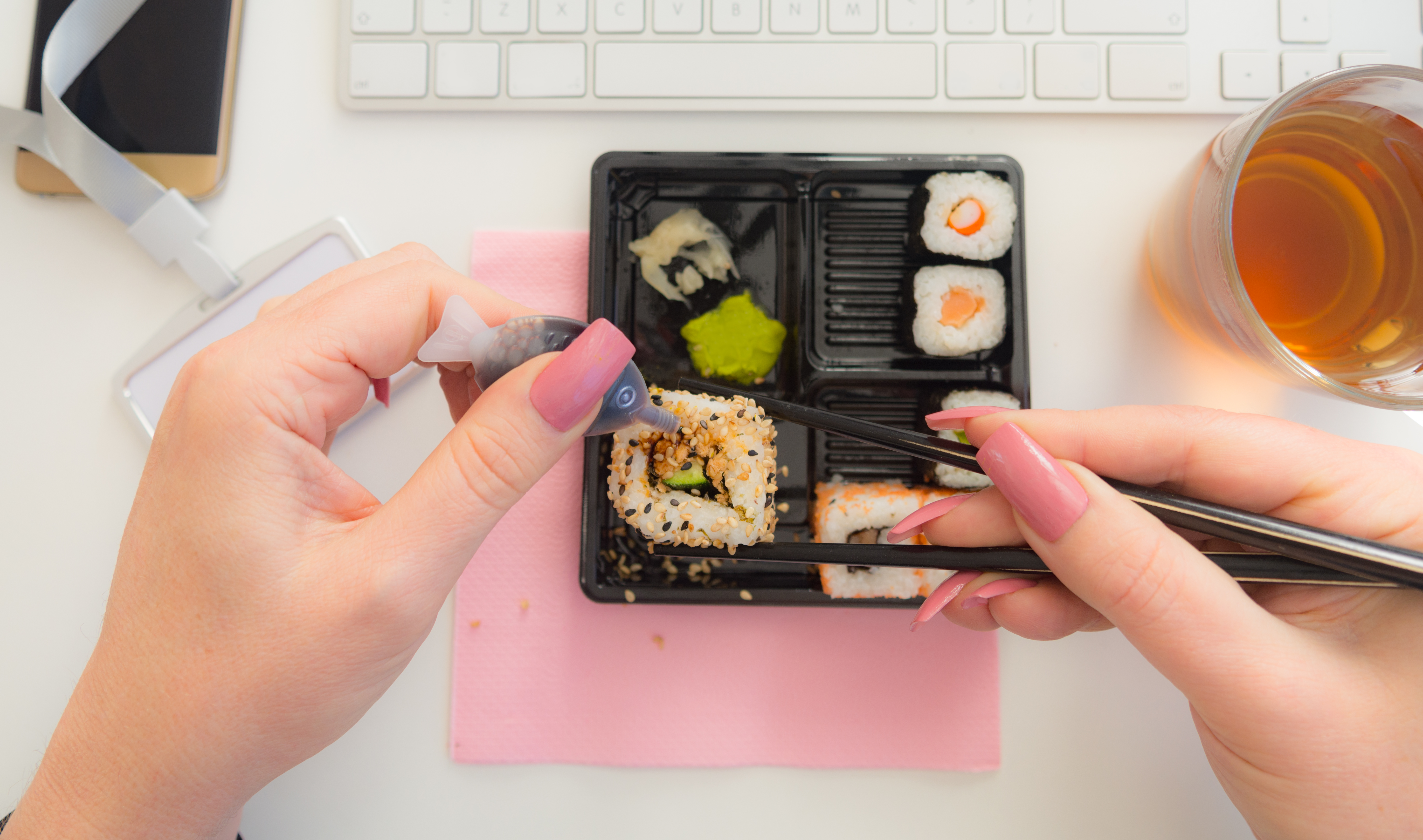 Personal perspective having Sushi during lunch at work