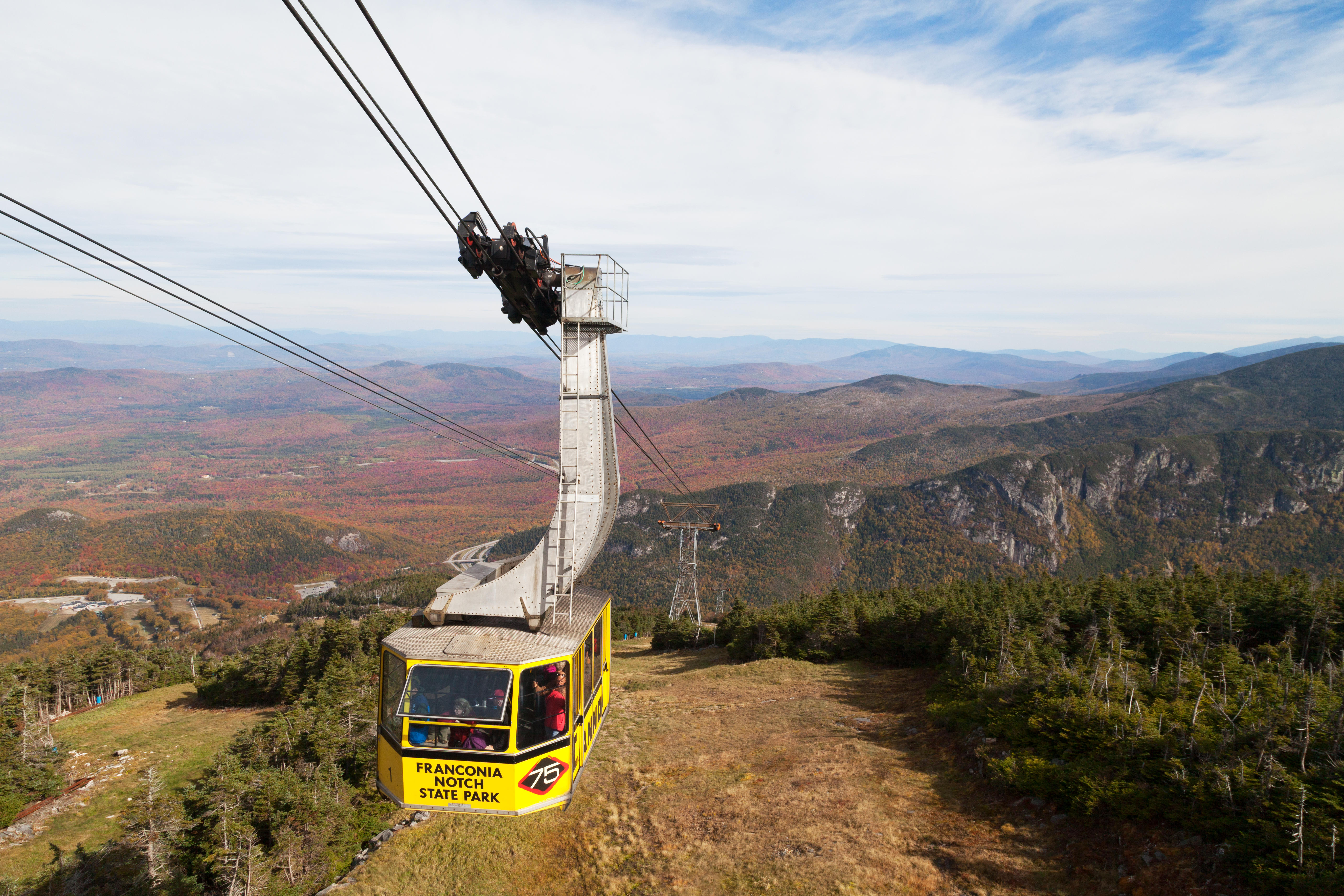 The Cannon Mountain Aerial Tramway or Cable Car, Franconia Notch State Park, White Mountains New Hampshire USA