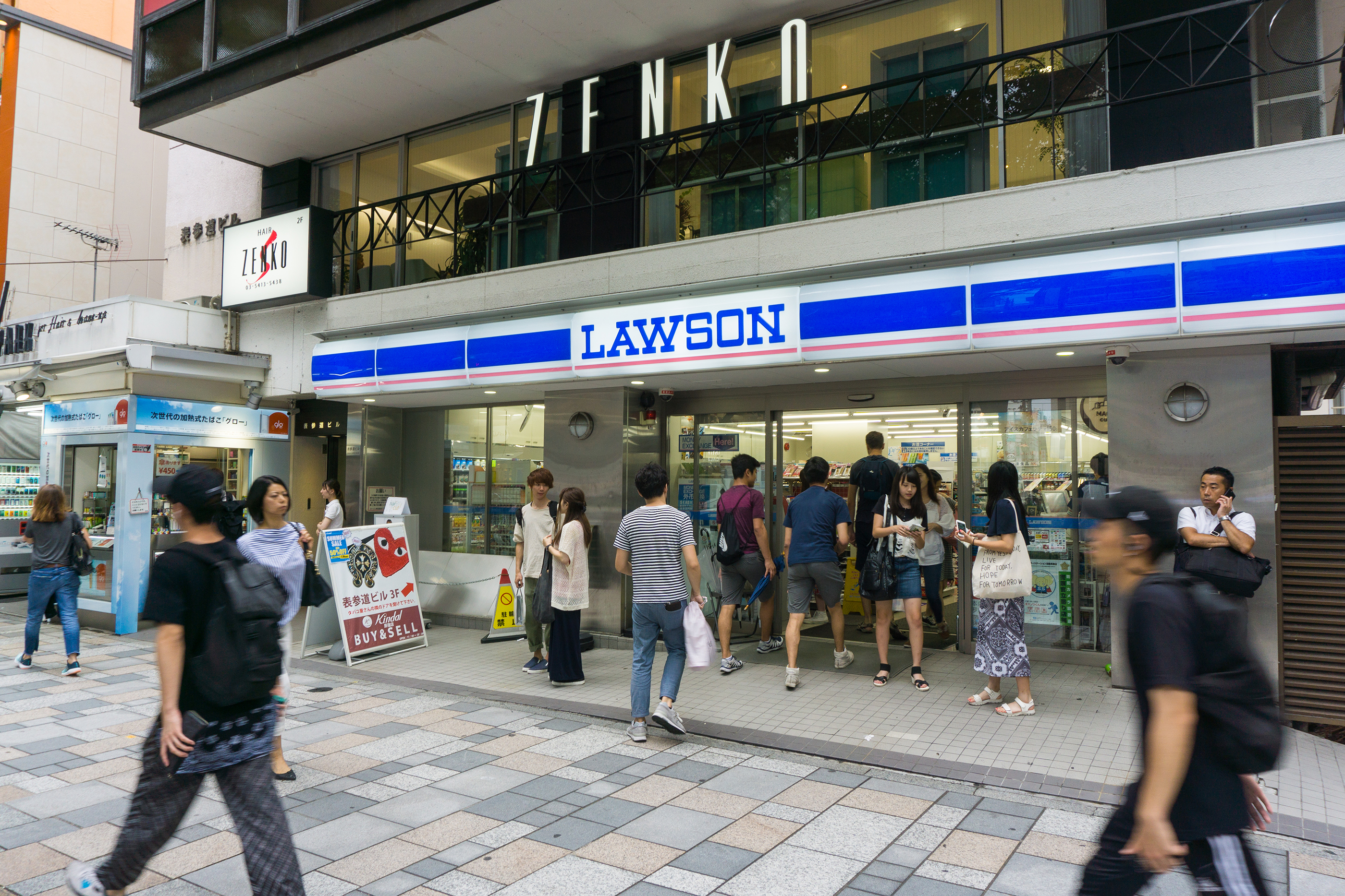 TOKYO , JAPAN - July 26, 2017 : Lawson store in Harajuku district Tokyo , Japan. There are 9,065 Lawson brand stores in Japan