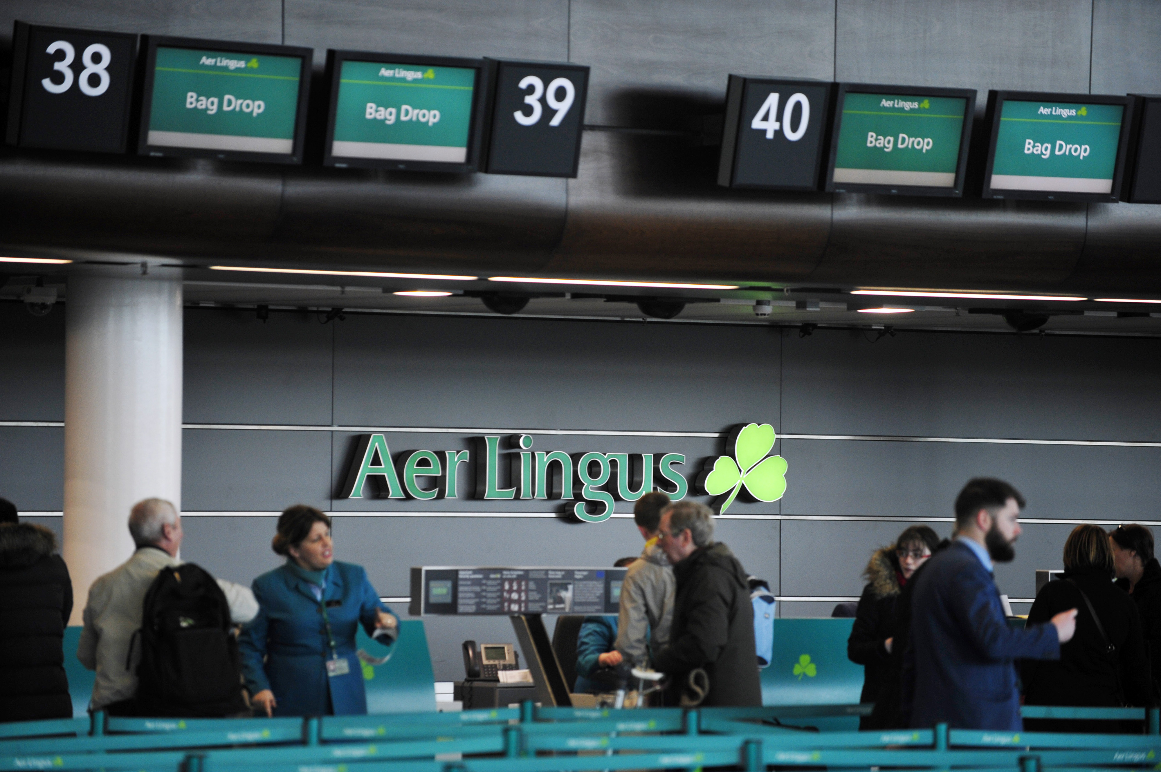 Aer Lingus Aircraft And Check-In Desks At Dublin Airport