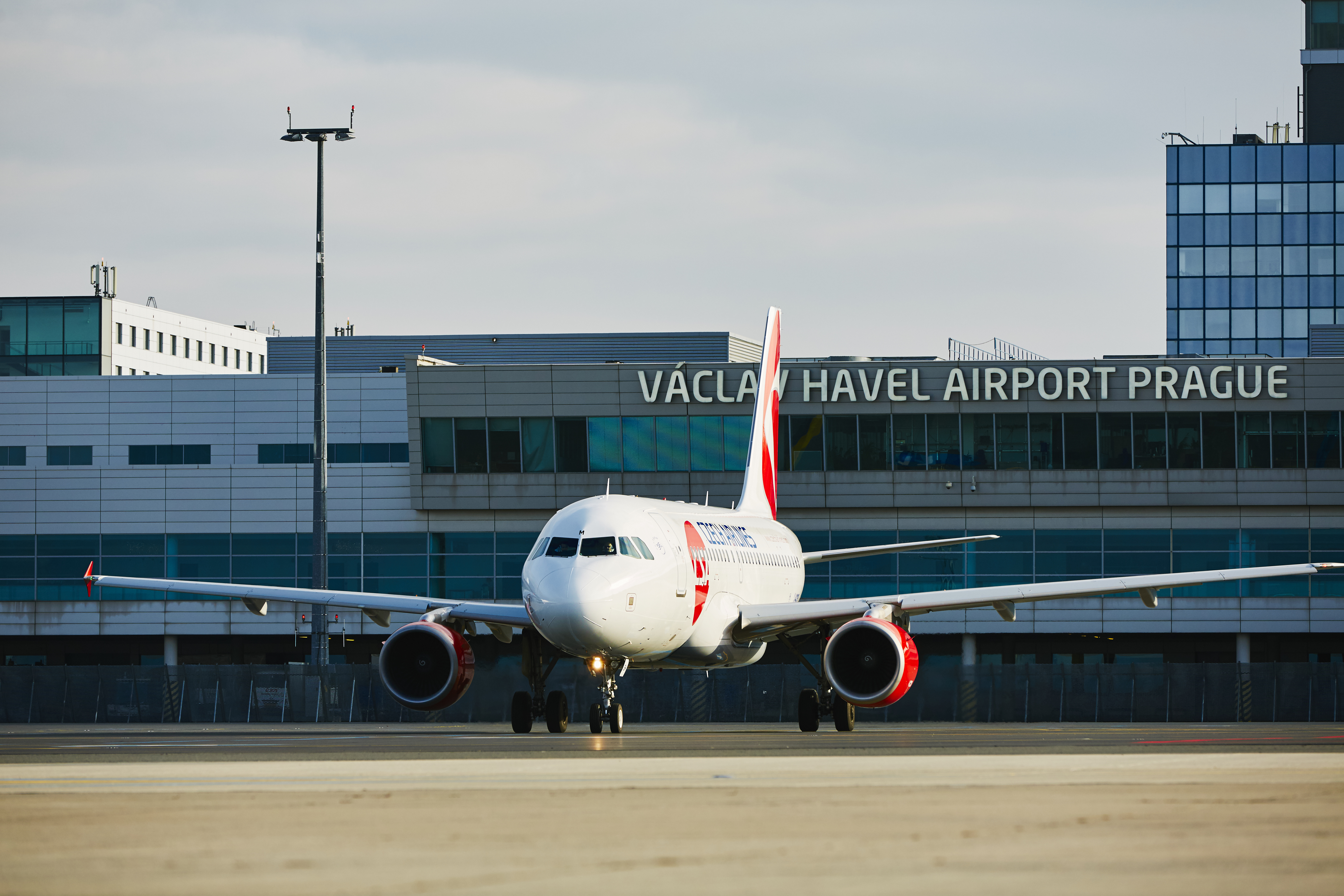 Airbus A319 of Czech Airlines at Vaclav Havel Prague Airport in the Czech Republic in December 21, 2014.
