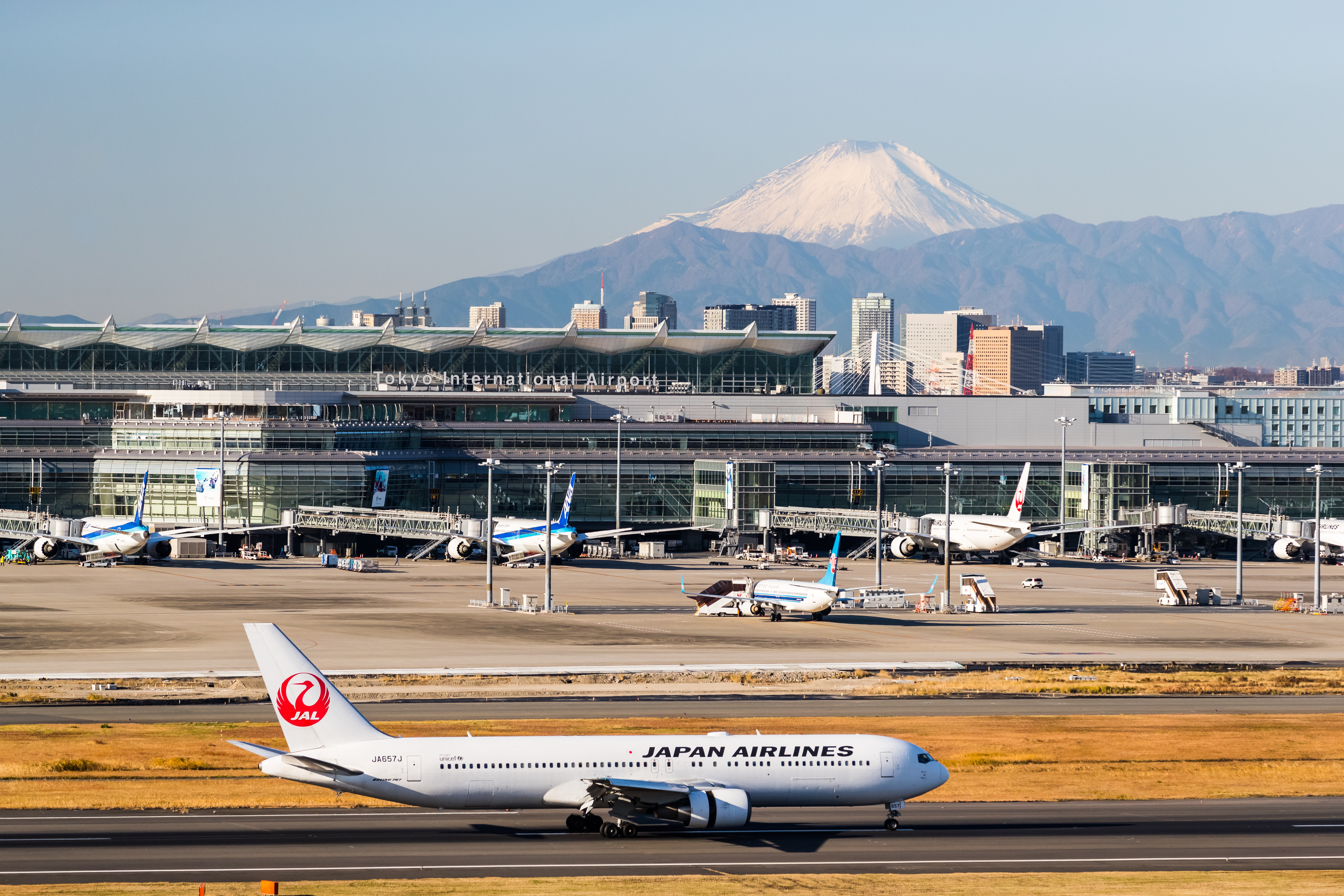 Haneda Airport and Mount Fuji on a clear day, Tokyo, Japan, December 14, 2017.