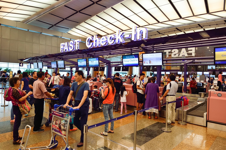 SilkAir check-in zone at Changi Airport, Singapore, November 7, 2015.