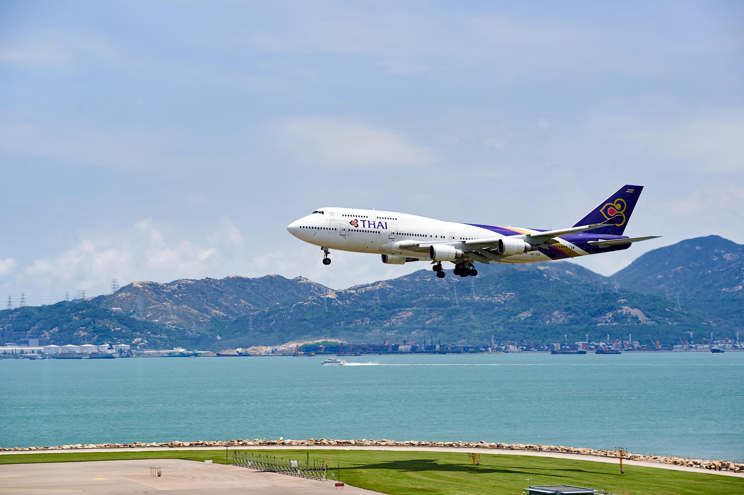 THAI aircraft landing at Hong Kong airport, June 4, 2015