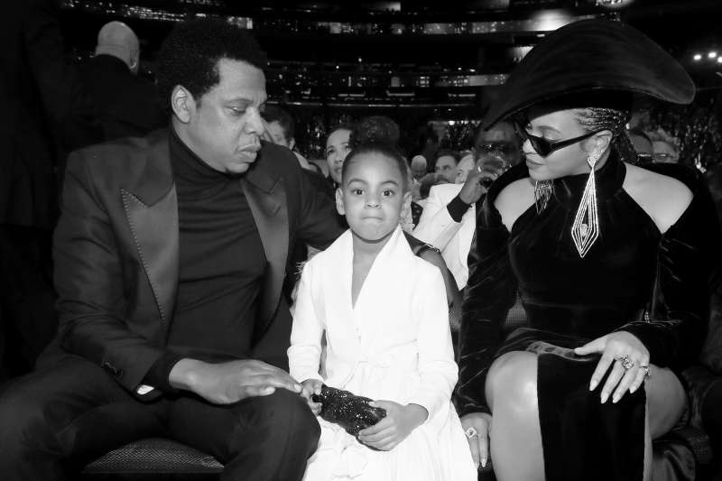 (L-R) Recording artist Jay-Z, Blue Ivy Carter and recording artist Beyonce attend the 60th Annual GRAMMY Awards at Madison Square Garden on January 28, 2018 in New York City.