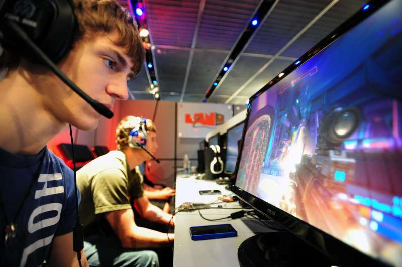 Team Kiaeneto member Tyler ''Ninja'' Blevins practices at the Red Bull LAN professional video gaming performance camp in SoHo, where three of North America's top performing HALO teams are training this weekend, New York, NY, June 24, 2011.
