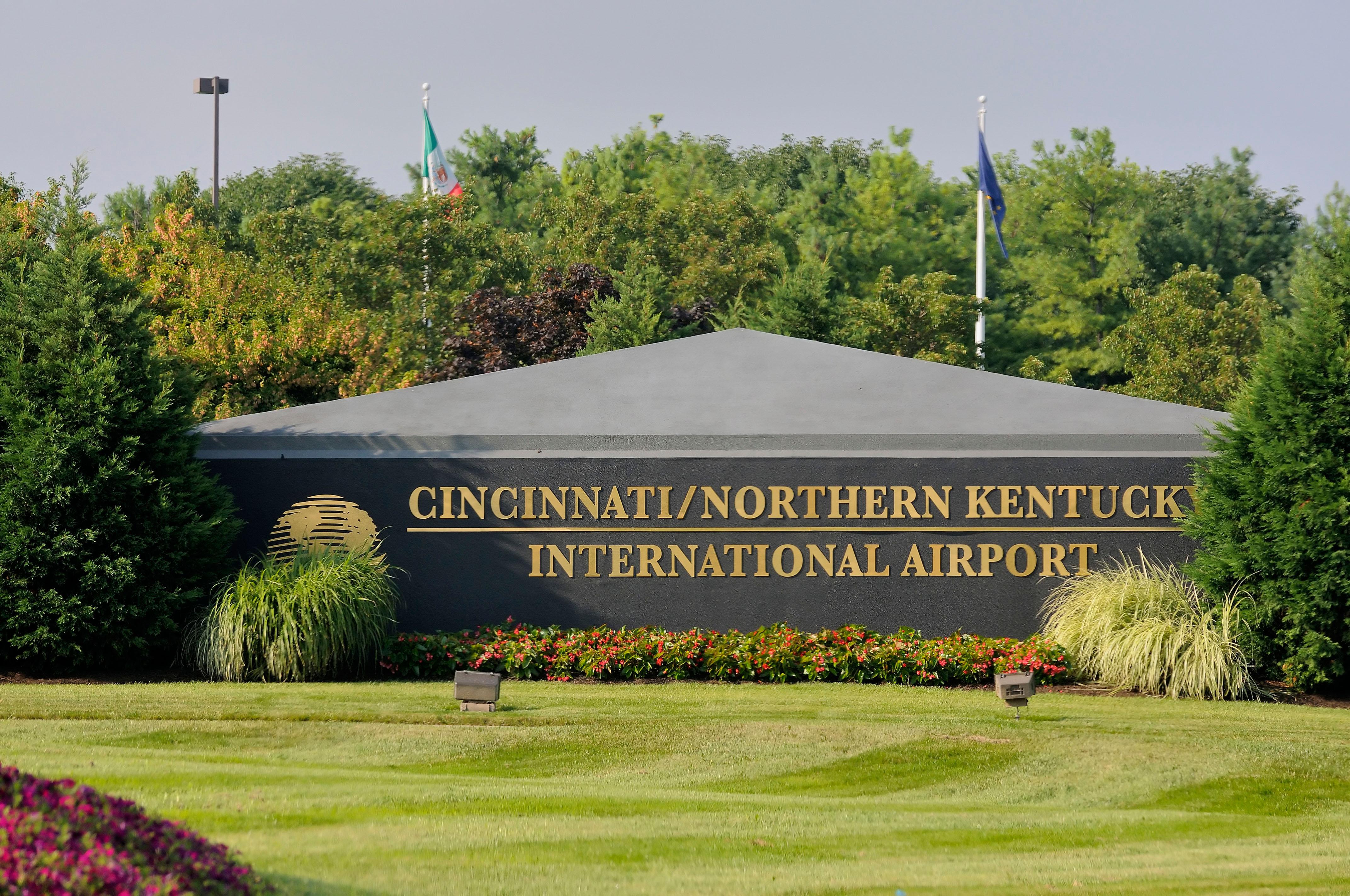 Entrance sign for the Cincinnati/Northern Kentucky International Airport