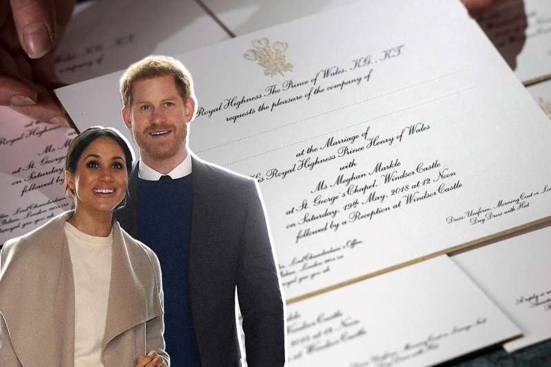 Hands hold invitations just printed at the workshop of Barnard and Westwood for Prince Harry and Meghan Markle's wedding on March 22, 2018 in London, England. The couple will marry in St. George's Chapel at Windsor Castle on May 19.
